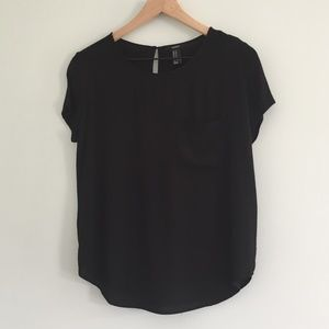 Forever 21 Black Flowy Blouse with Pocket Size M
